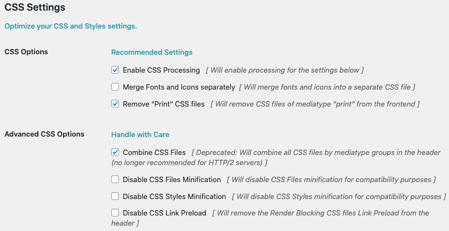 Fig. 3. CSS settings.